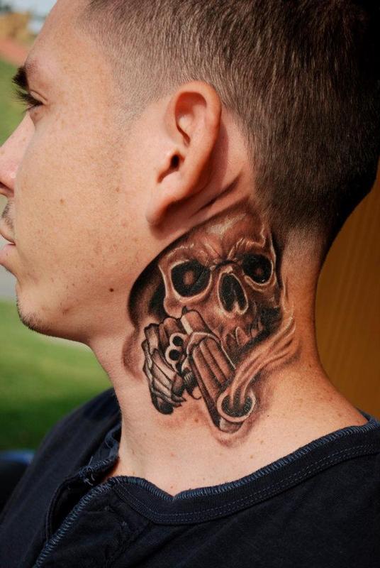 skull neck piece by david vallejo tattoonow ForSkull Neck Tattoos
