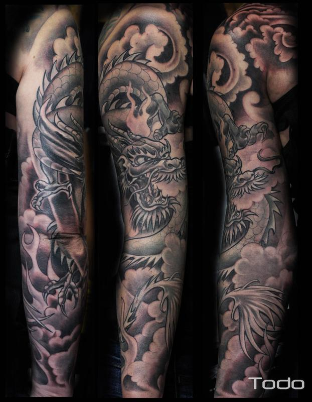 dragon sleeve by todo tattoonow. Black Bedroom Furniture Sets. Home Design Ideas