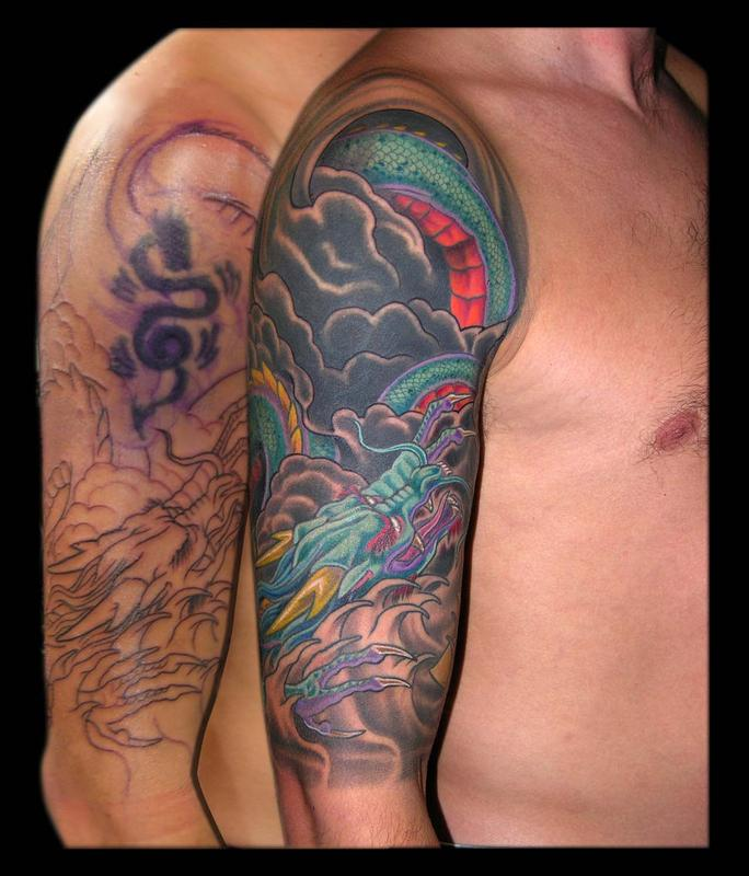 Asian dragon and yellow lotus cover up half sleeve by for Tattoo sleeve cover ups