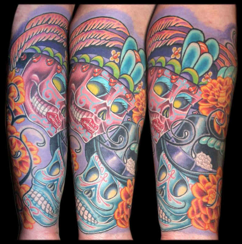 day of the dead skulls marigolds bee and a tribal re work by aaron goolsby tattoos. Black Bedroom Furniture Sets. Home Design Ideas