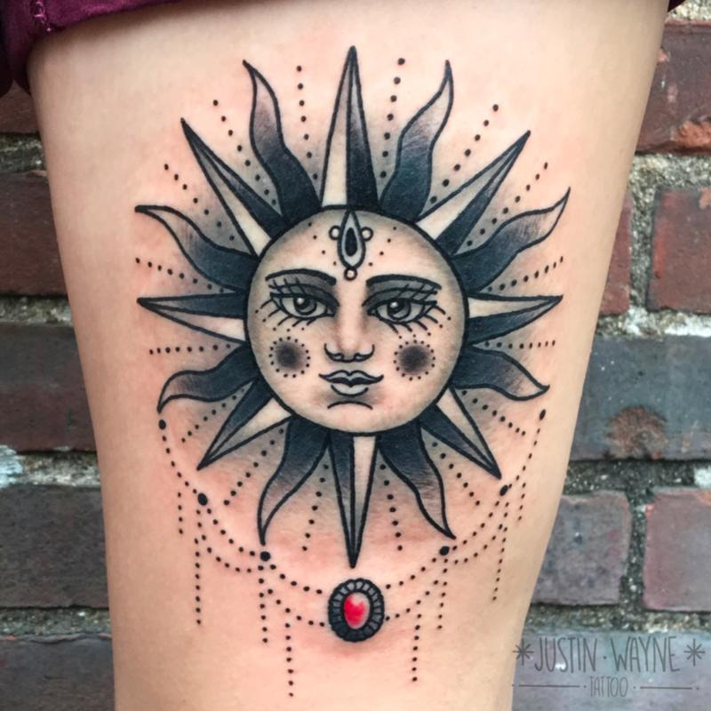 Traditional sun tattoo by justin wayne tattoonow for Best traditional tattoo artists