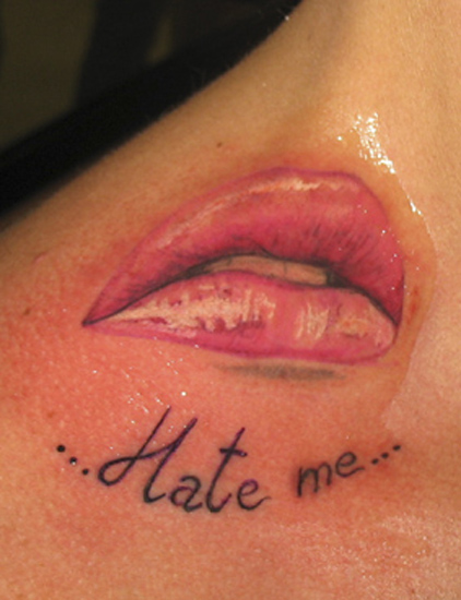 Off the map tattoo for Kiss lips tattoos