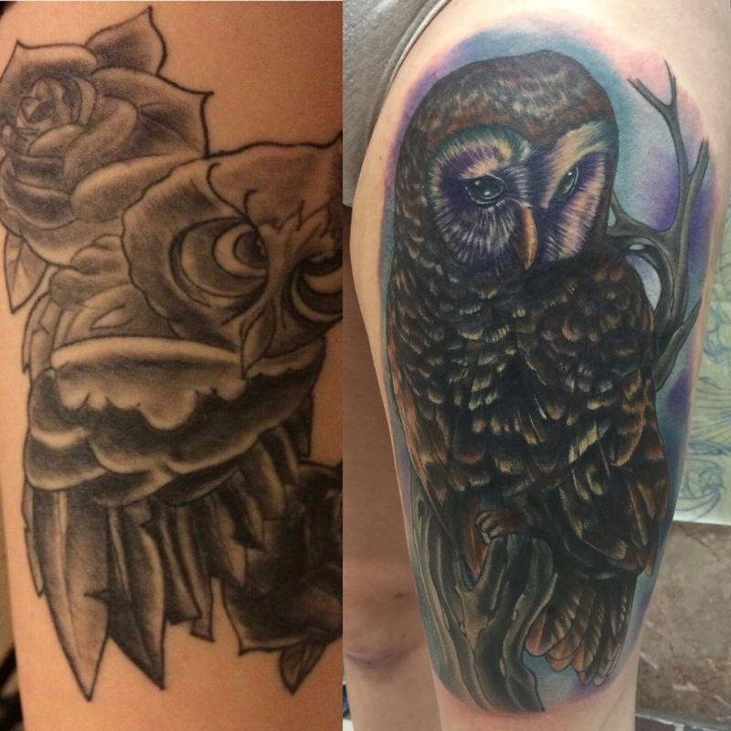 Altered images tattoos realistic owl cover up for Big tattoo cover up