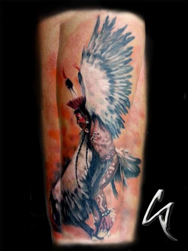 Indian chief by chad pelland tattoonow for Tattoo shops okc
