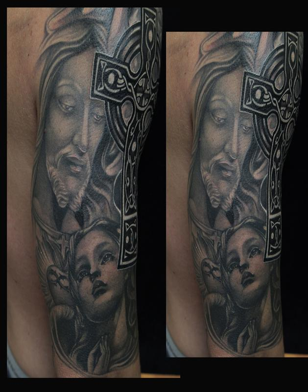 Black and gray religious tattoo by mike demasi tattoonow for Christian tattoo shop