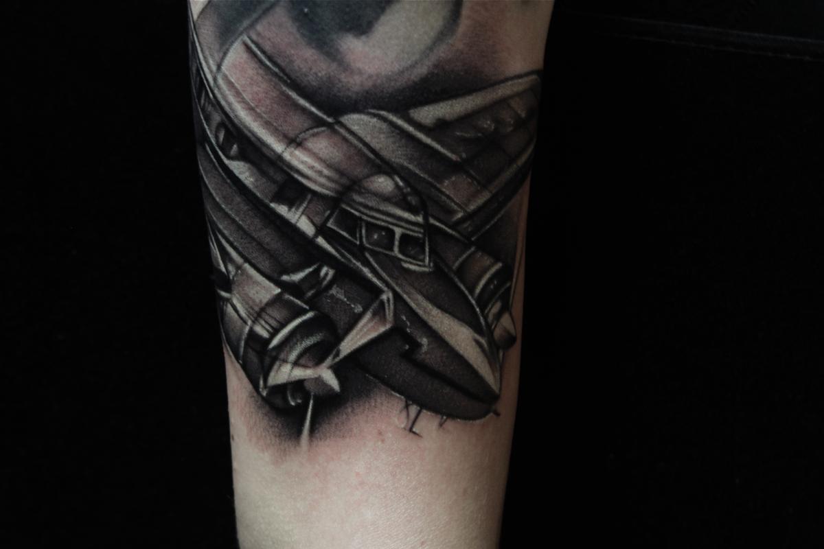 Da Plane Black And Gray Tattoo Mike Demasi Art Junkies Tattoo By
