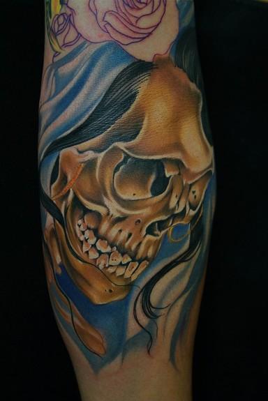Art junkies tattoo studio tattoos skull bride skull for Day of the dead skull tattoo