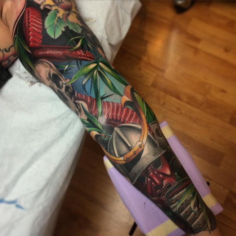 Realistic color Japanese sleeve with samurai, Geisha and