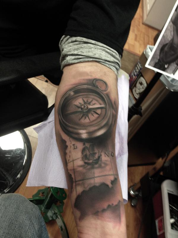 Black and grey map and compass by ryan mullins tattoos ryan mullins black and grey map and compass gumiabroncs Choice Image
