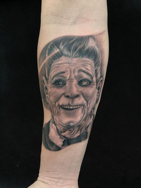 Black And Grey Portrait From Point Break By Ryan Mullins Tattoos