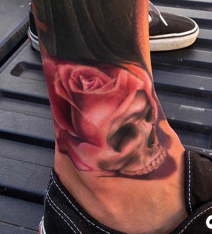 Color Skull Morphing In To A Skull By Ryan Mullins Tattoos