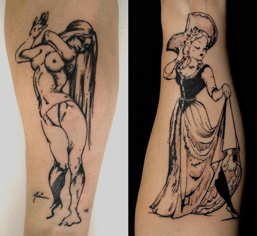 Women sketch arm tattoos by aubrey mennella tattoos for Forearm tattoo sketches