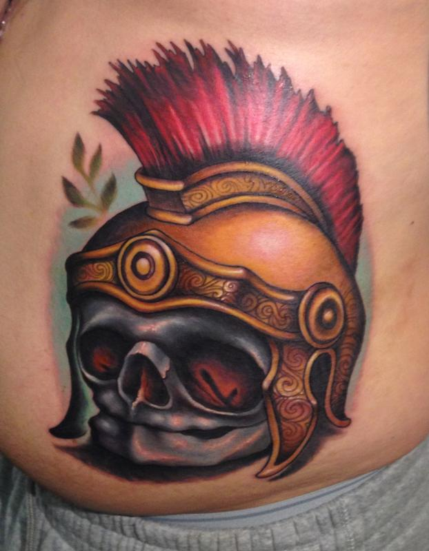 fetal skull roman soldier helmet by london reese tattoonow. Black Bedroom Furniture Sets. Home Design Ideas