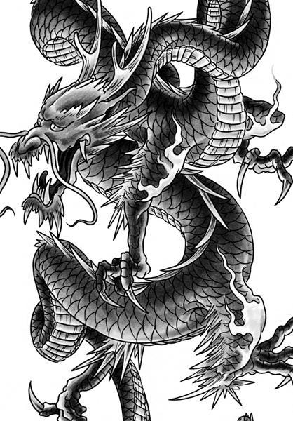 dragon tattoo design by george bardadim tattoonow. Black Bedroom Furniture Sets. Home Design Ideas