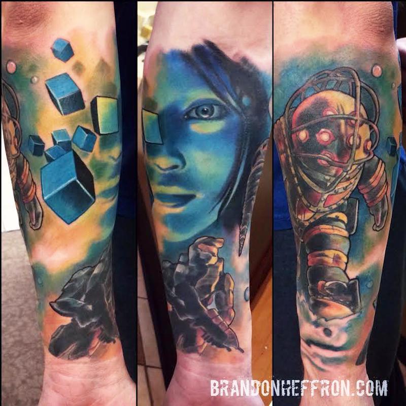 Video game sleeve by brandon heffron tattoonow for Tattoo shop games