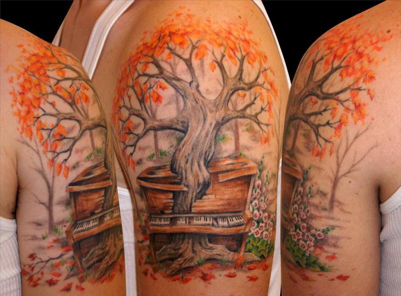 Biagio 39 s tattoo gallery tattoos realistic tree piano for Realistic tree tattoos