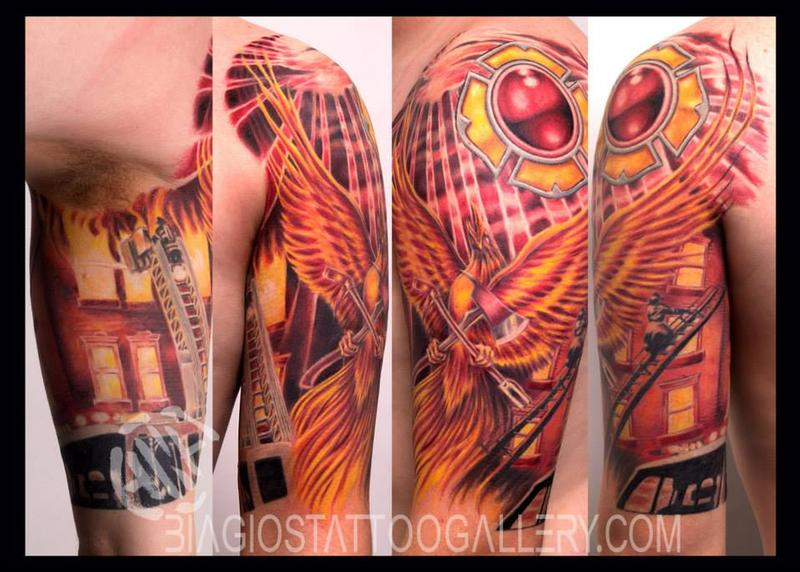 Firefighter phoenix half sleeve by talo by rob talo for Firefighter sleeve tattoo