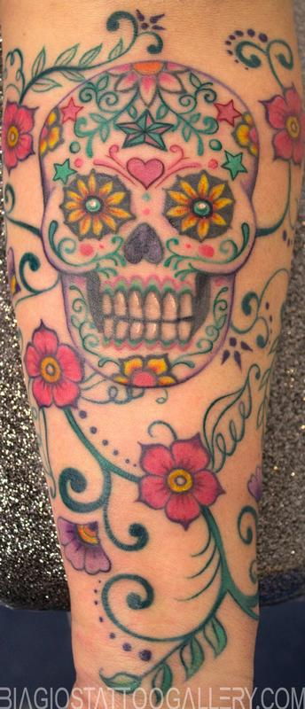 Biagio S Tattoo Gallery Tattoos Feminine Sugar Skull By Sharon