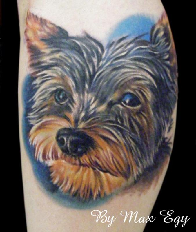 custom yorkie portrait by max egy tattoonow. Black Bedroom Furniture Sets. Home Design Ideas