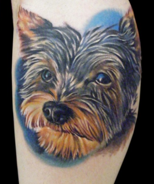 Color dog portrait tattoo by max egy tattoonow for Tattoo shops terre haute indiana