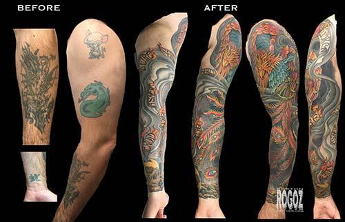 Boston Rogoz Tattoo : Tattoos : Color : Phoenix sleeve cover-up tattoo