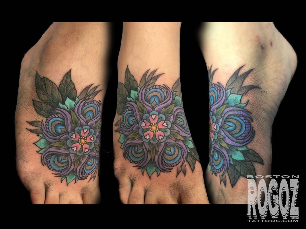Boston Rogoz Tattoo Tattoos Flower Peacock Feather Flower Mandala
