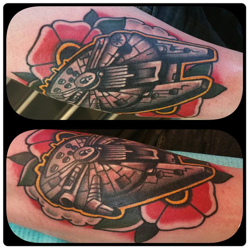 Millennium falcon space tattoo and flower by nick rose for Tattoo shops belgrade mt