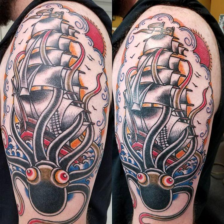 Traditional ship and kraken tattoo by glenn collins for Tattoo shops belgrade mt