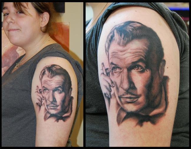 Vincent price portrait by victor modafferi tattoonow for Price of a tattoo