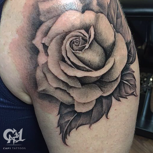 Black and gray rose tattoo by capone tattoos capone black and gray rose tattoo urmus Choice Image