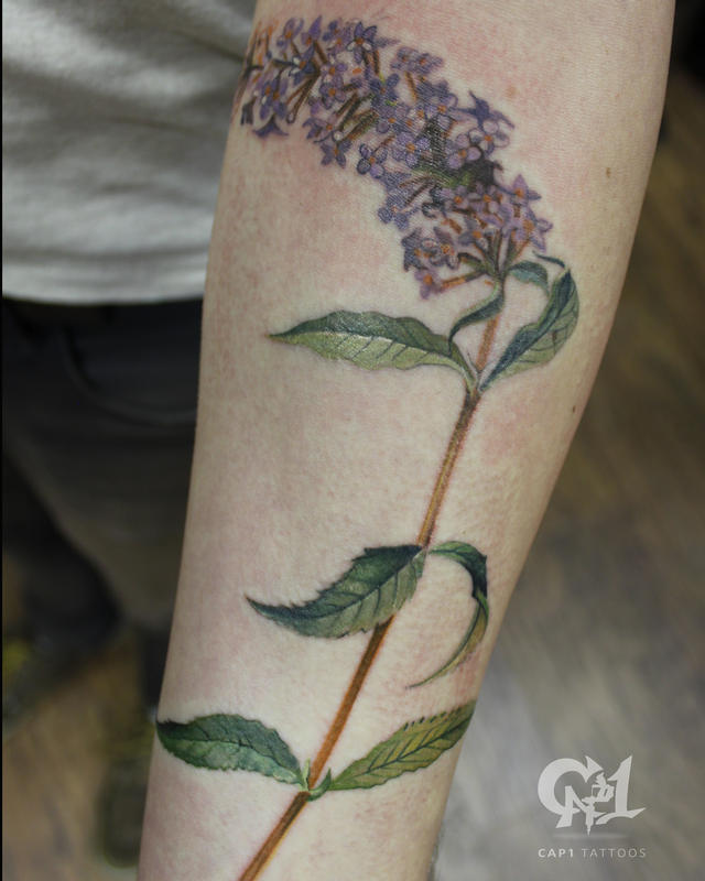 Butterfly bush tattoo by capone tattoonow for Tattoo shops denton tx