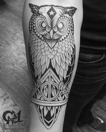 Deathly hallows owl tattoo by capone tattoonow for Tattoo shops denton tx