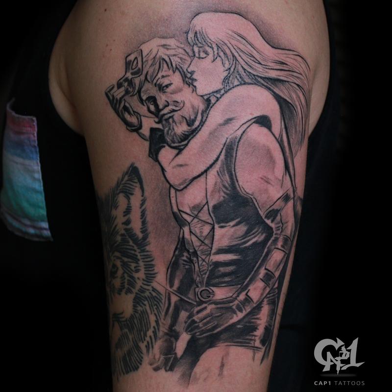 Green arrow and black canary tattoo by capone tattoonow for Tattoo shops denton tx