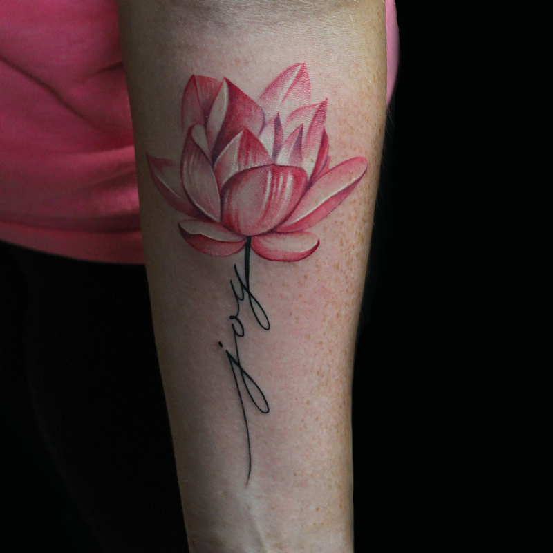 Joy lotus flower by capone tattoonow for Name tattoos with color
