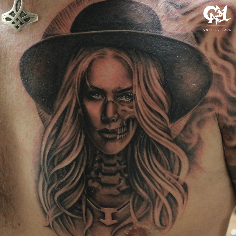 Black and grey realism portrait by capone tattoonow for Black and grey tattoo artists