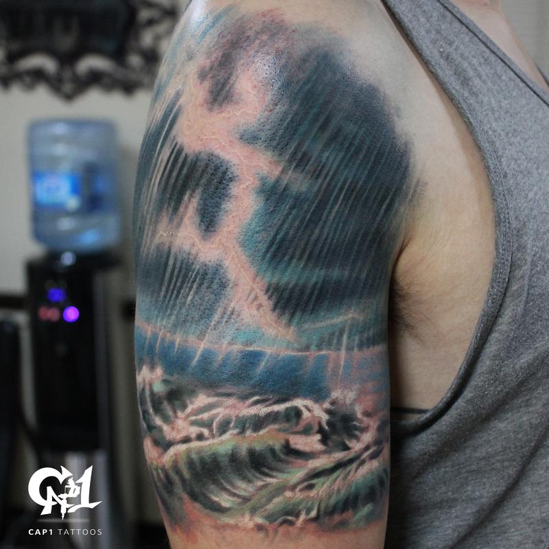 Ocean storm tattoo by capone tattoonow for Tattoo shops denton tx