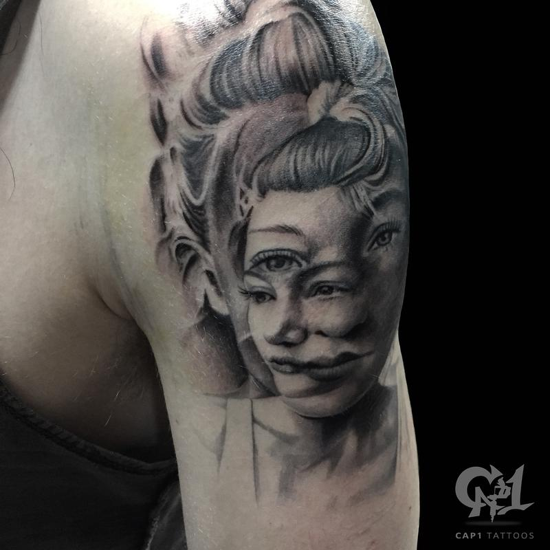 Distorted portrait tattoo by capone tattoonow for Tattoo shops denton tx