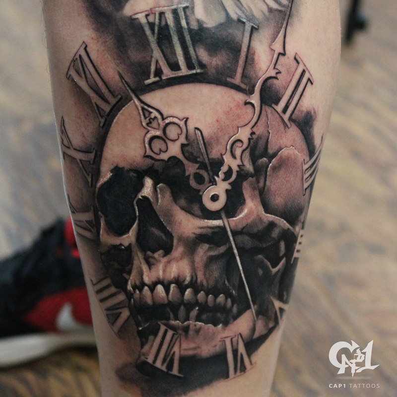 Black And Gray Clock And Skull Tattoos On Bicep: Cap1 Tattoos : Tattoos : Capone : Skull And Time Tattoo