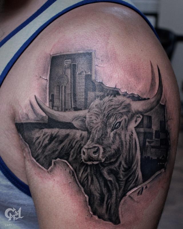 Texas longhorn tattoo by capone tattoonow for Tattoo shops denton tx