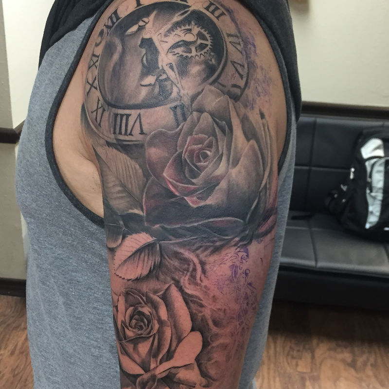 Mechanical clock and roses sleeve progress by capone for Clock tattoo half sleeve
