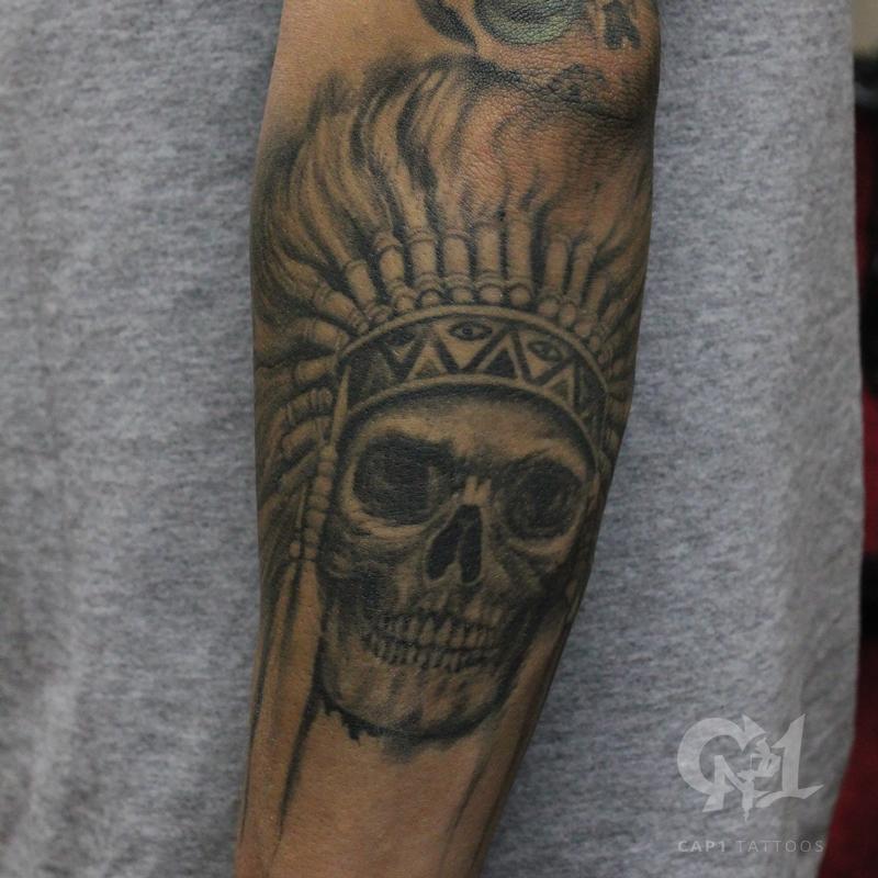 Native american skull tattoo by capone tattoonow for Tattoo shops denton tx