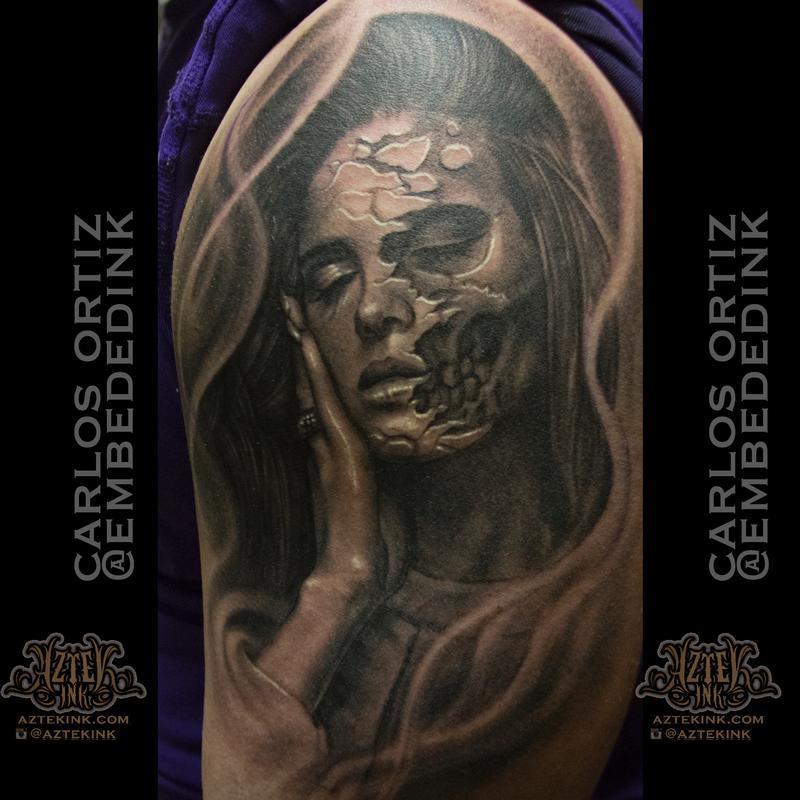 Lana Del Rey skull by Carlos Ortiz: TattooNOW
