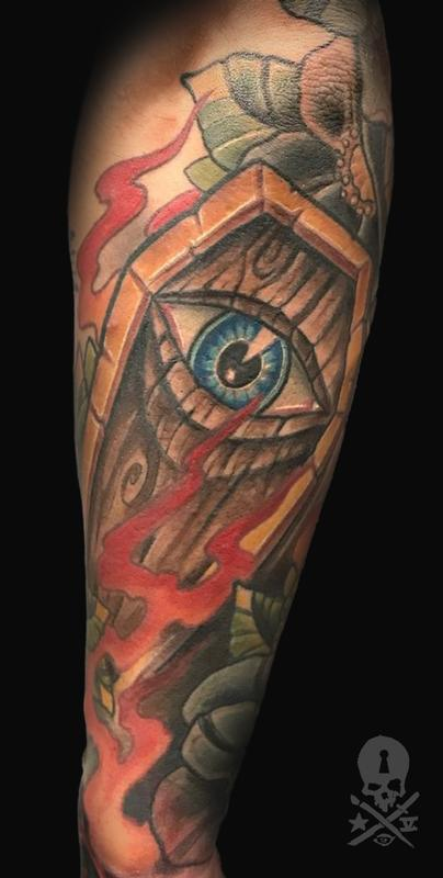 Coffin by zack ross tattoonow for Cat tattoo addison