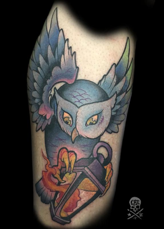 Owl by memphis tattoonow for Cat tattoo addison