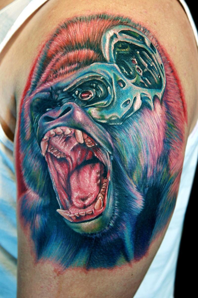 gorilla nator by cecil porter tattoos. Black Bedroom Furniture Sets. Home Design Ideas