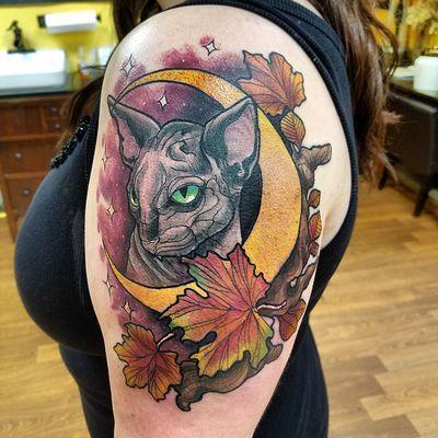 Cat moon tattoo by chris bowen tattoonow for Charleston tattoo artists