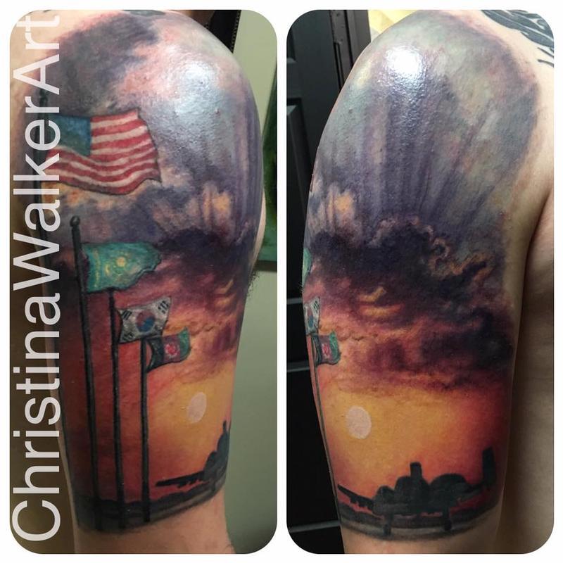 Military half sleeve by christina walker tattoonow for Military sleeve tattoo