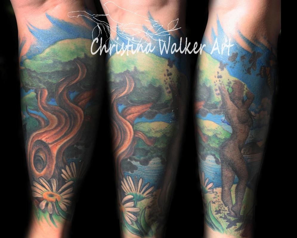 nature leg sleeve 2nd view by christina walker tattoonow. Black Bedroom Furniture Sets. Home Design Ideas