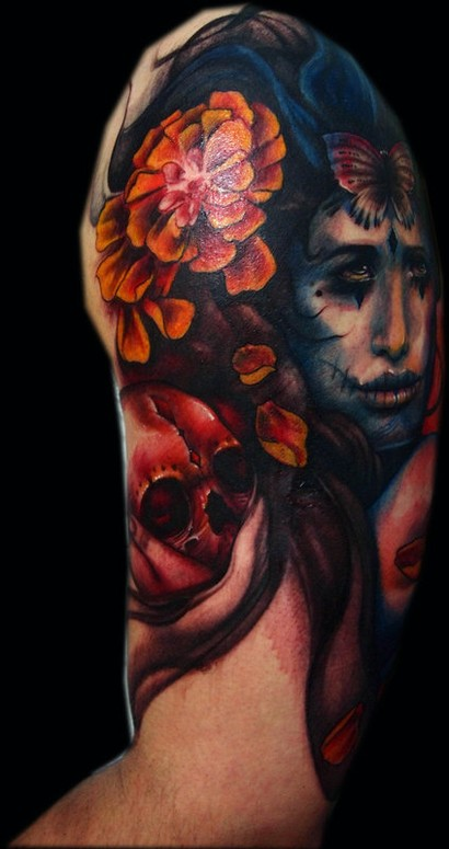 Mexican girl half sleeve by claire reid tattoonow for Mexican girl tattoos