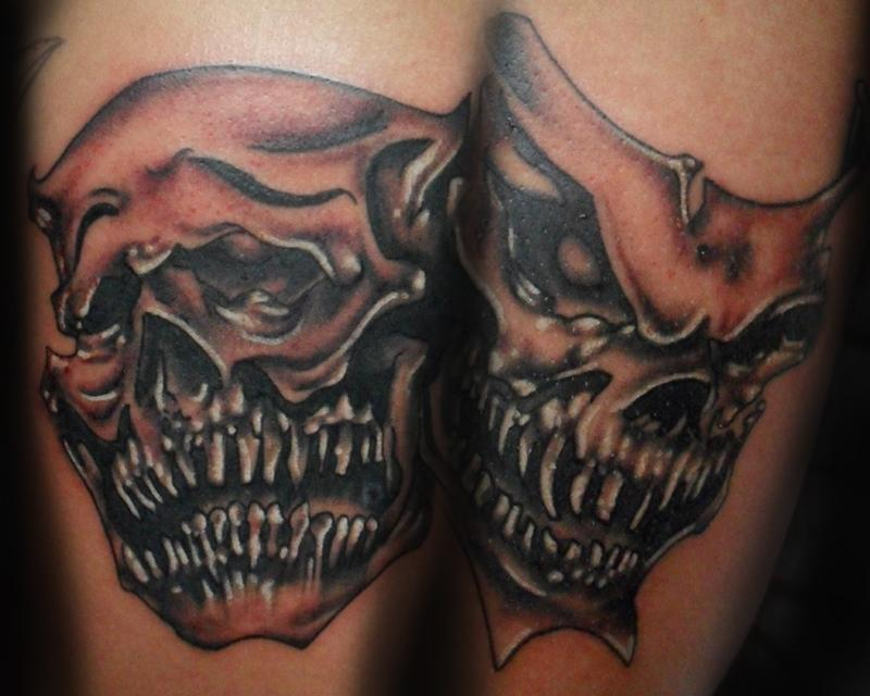 Comedy tragedy tattoos for Comedy and tragedy tattoo